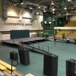 The Amramp Eastern Tennessee team installed these rental wheelchair ramps for the 2017 graduation at Motlow State Community College in Tullahoma, TN. Two ramps were installed to provide access to and from the stage for all students.