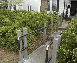 Handrail along walkway
