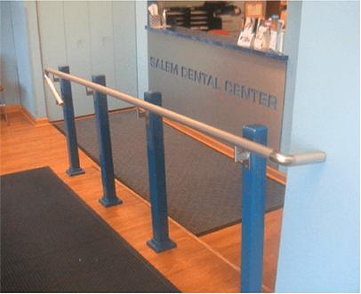 Hand rail down ramp