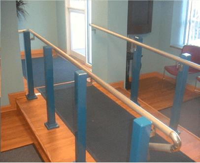 Hand rail up ramp
