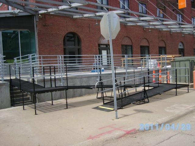 An ADA-compliant ramp at a construction site in Omaha, Nebraska.