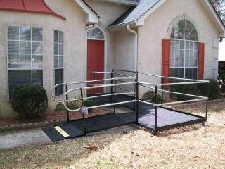 The Amramp Birmingham team makes this front entrance accessible with Amramp's steel, modular wheelchair ramp.