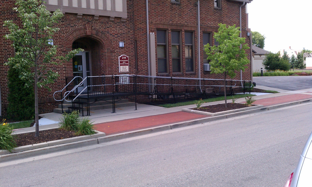 An Amramp wheelchair ramp makes a Senior Center building fully ADA-compliant and can be removed without damage to the historic structure.