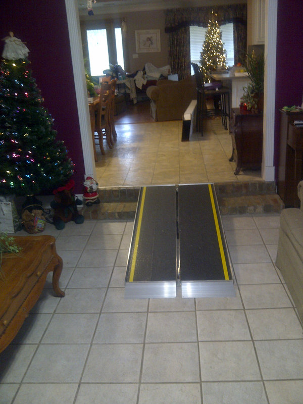 A Denham Spring, LA, homeowner had an Amramp ramp installed to overcome steps inside the home.