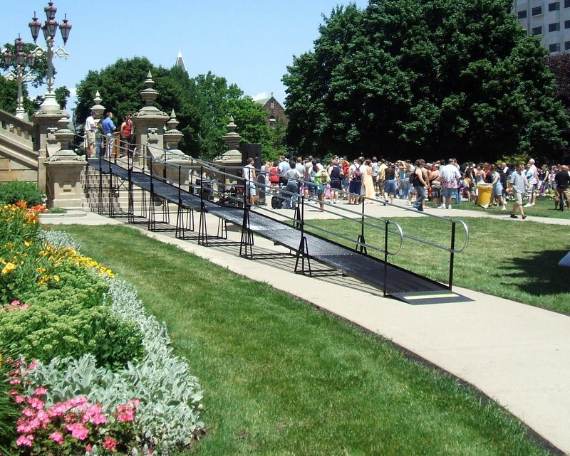 An Amramp ramp acts a stage on the steps of the Michigan State Capitol Building in Lansing.