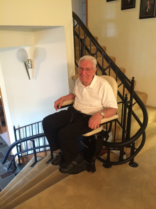 The Amramp West Virginia team installed this curved stairlift for a veteran in Fayetteville, WV.