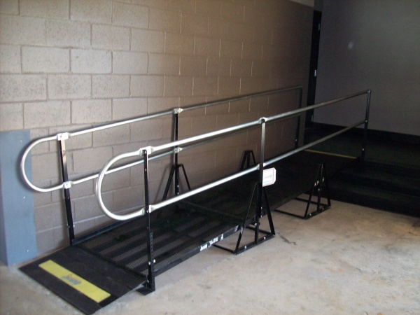 The Amramp modular ramp was installed at the entrance to the distinguished visitors box at the University of Georgia's Sanford Stadium.
