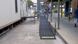 Amramp provides wheelchair access for temporary office trailer in Baton Rouge.