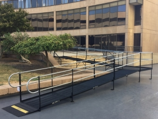 A high-rise condominium in Hartford, CT RENTED this temporary wheelchair ramp to provide access during a sidewalk construction project.