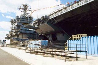 Amramp provided access to visitors on the USS JFK.