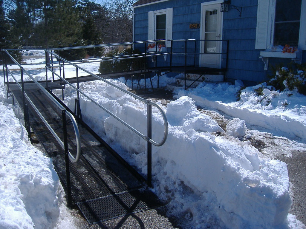 With its patent-pending steel-mesh platforms, Amramp's wheelchair ramps do not collect moisture and are ideal for wintery conditions.