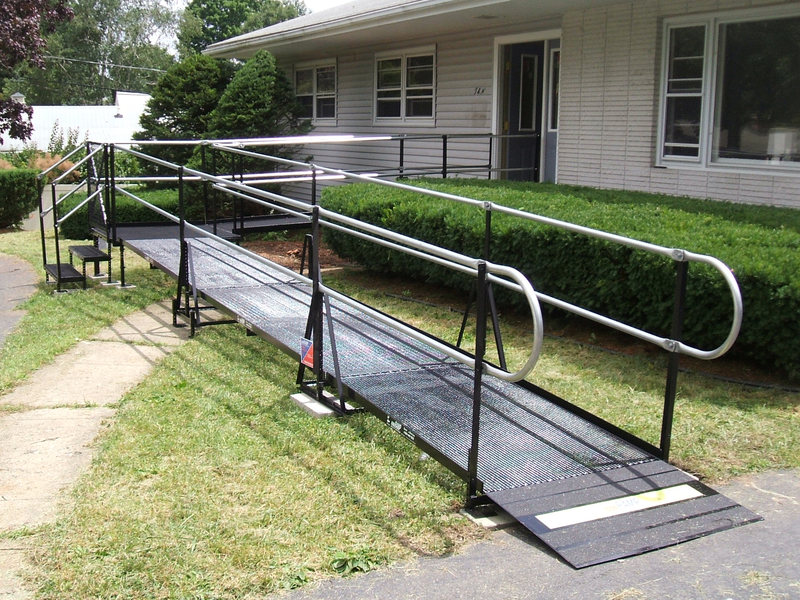 Rodney Hulsey and the Amramp Lancaster team installed this wheelchair ramp to provide access from the front entrance of this home in Dillsburg, PA.
