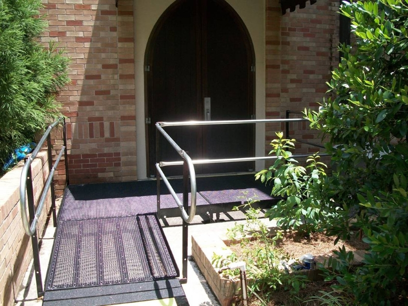 An Amramp ramp ensures Morningside Baptist Church in Atlanta is ADA-compliant. The ramp was purchased by the Fulton County Board of Elections.