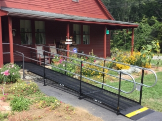 This quaint home in North Windham, CT is now accessible with an Amramp modular wheelchair ramp.