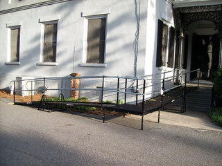 This wheelchair ramp provides access for a private school in Irving, TX.
