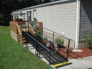 This Birmingham homeowner now has easy access to the back deck with this Amramp modular wheelchair ramp.