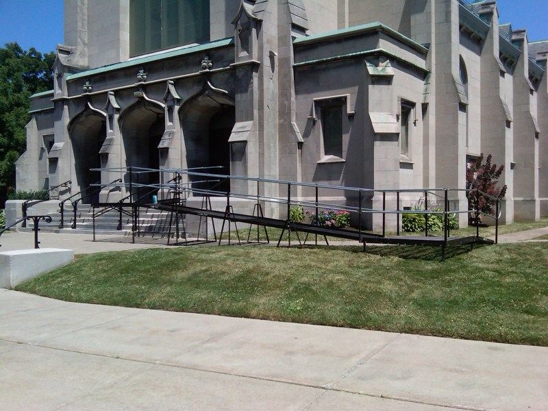 An overnight Amramp ramp rental for a wedding at St. Mark's Church in Buffalo NY.
