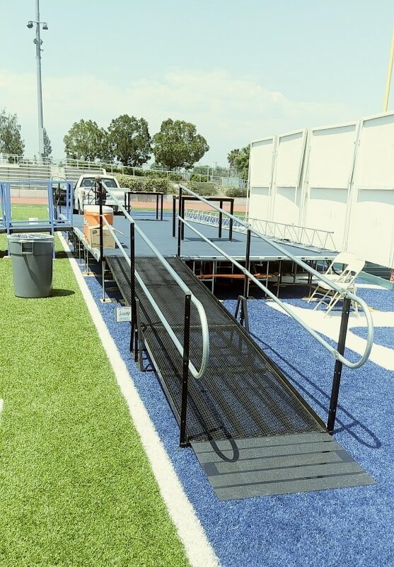 The Amramp Los Angeles team installed these wheelchair ramps for the stage at Baldwin Park High School graduation.