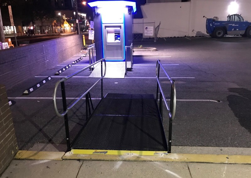 This ramp was installed at for a bank remodeling project by the Amramp DC team in Bethesda, MD.