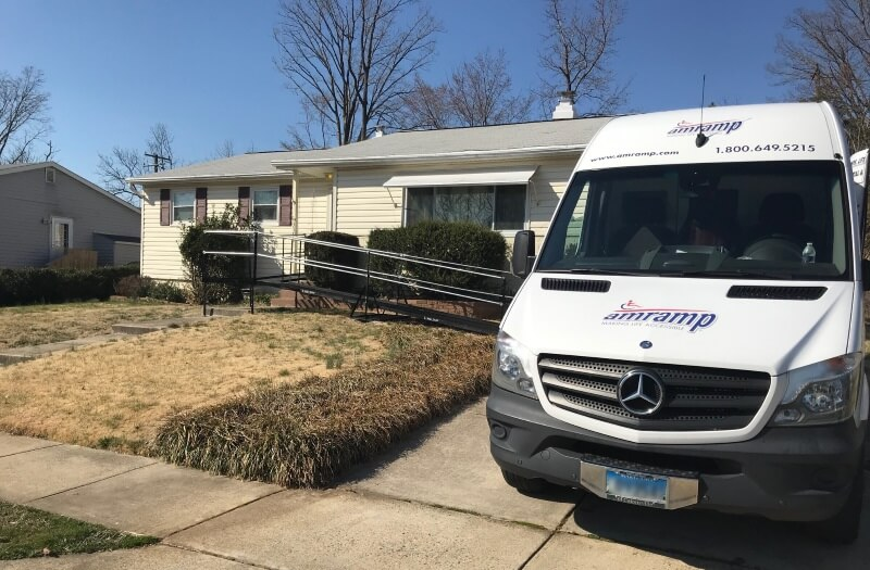 This rental wheelchair ramp was installed within two days for this family in Prince Georges County, MD. Amramp coverage includes both beltways and areas north from the Mason-Dixon Line in Maryland to Spotsylvania County in Northern Virginia to the West Virginia line.