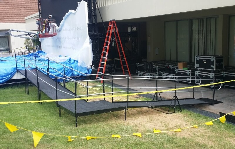 Amramp Los Angeles installed this graduation ramp for CalArts in Santa Clarita, CA.