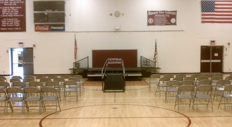 The Amramp Minnesota team installed this wheelchair ramp for Central High School's graduation in Norwood, MN.