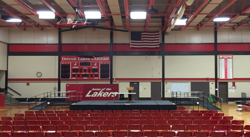 The Detroit Lakes High School in Detroit Lakes, MN has a wheelchair ramp for their commencement ceremony thanks to the Amramp Minnesota team.