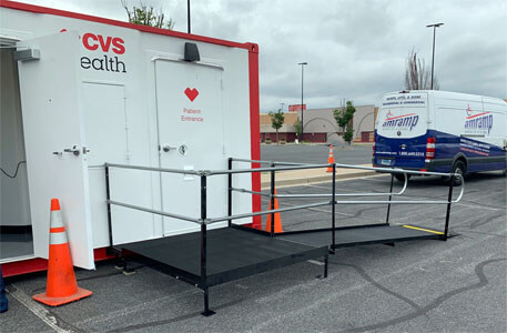 Amramp of Baltimore, MD set up this ramp at a COVID testing center. This testing center is also located in Baltimore, MD.