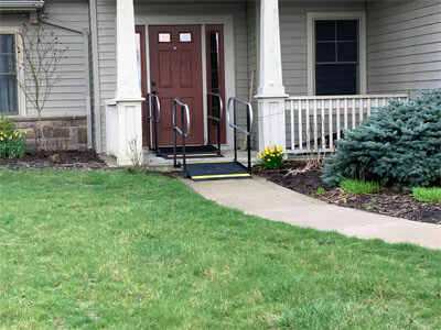 Small changes make a big difference in how you live your everyday life! Amramp of Huntington, IN installed these step connecting ramps and handrails at a customers home in beautiful Fort Wayne, IN