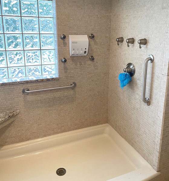A bathroom modification using grab bars by Amramp Eastern Tennessee for a customer in Marion, VA.