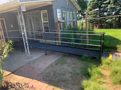 A ramp installed by Amramp of Huntington, IN for a customer located in Monon, IN