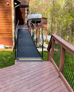 A ramp connecting one part of a customers deck to the other, eliminating the use of both sets of stairs. Our Maryland team is committed to providing the best solutions in mobility and safety for your home