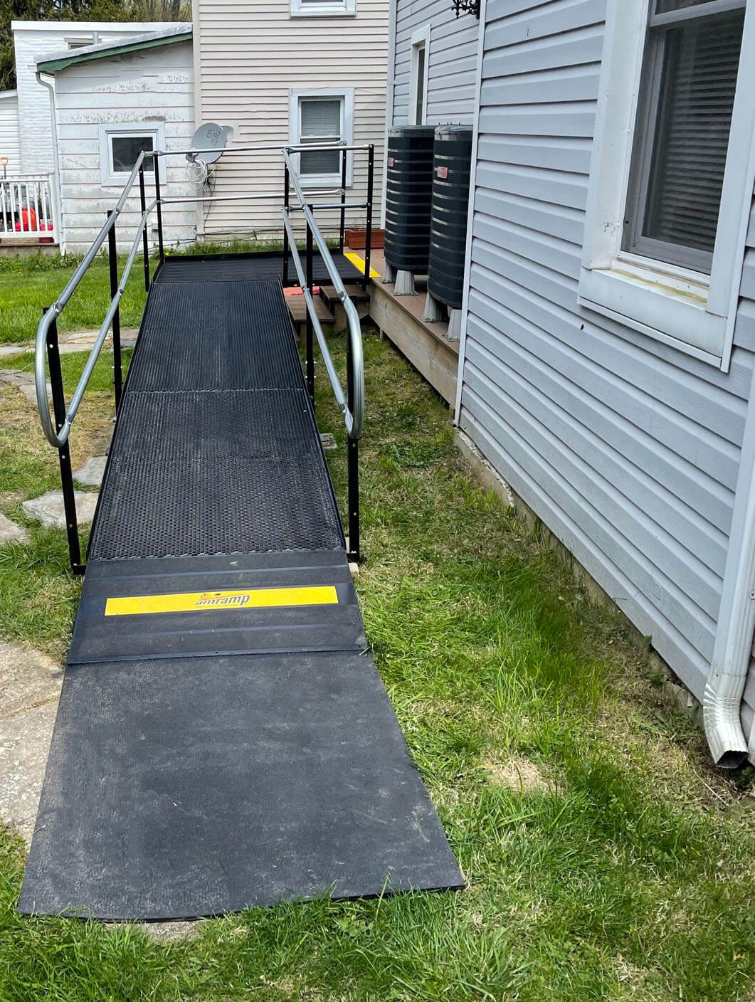 A residential ramp installed by our Maryland team for a customer in Myersville, MD over a set of pre-existing stairs