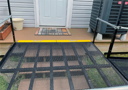 A residential ramp installed by our Maryland team for a customer in Myersville, MD over a set of pre-existing stairs.