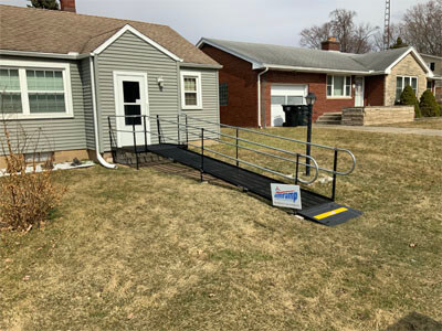 Amramp of Huntington, IN recently installed this ramp for a customer in South Bend, IN leading into their home