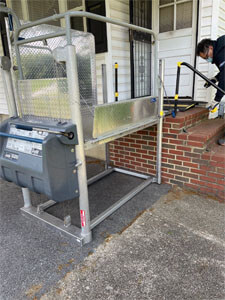 Amramp of Maryland installed this vertical platform lift at a customers home in Oxon Hill, MD
