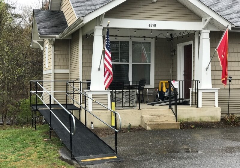 This rental ramp was installed within 24 hours at a housing area in Ft. Mead, MD for a military family.