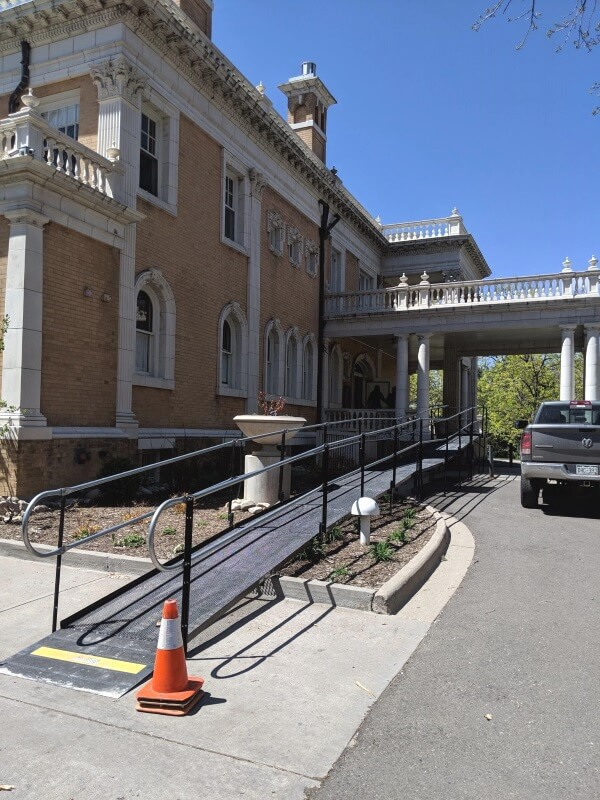 The Amramp Denver team installed this wheelchair ramp at the historic Grant Humphreys mansion in Denver, CO.