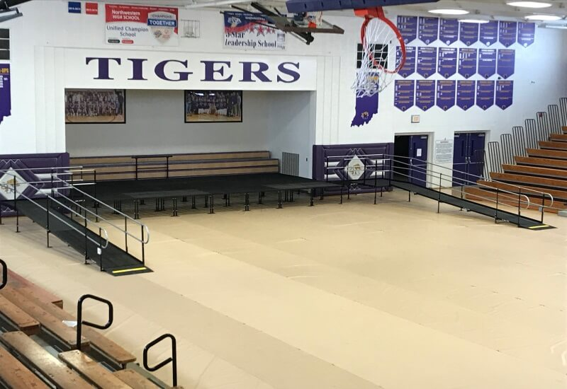 This ramp was installed by the Amramp Huntington team for Northwestern High School's graduation in Kokomo, IN.