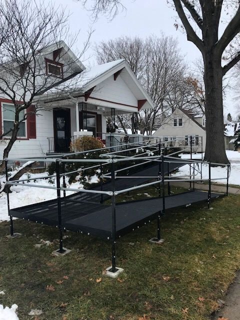 This 53 ft. ramp was installed by Todd Torring and the Amramp Omaha team in Lincoln, NE. The team needed to shovel the yard for this one!