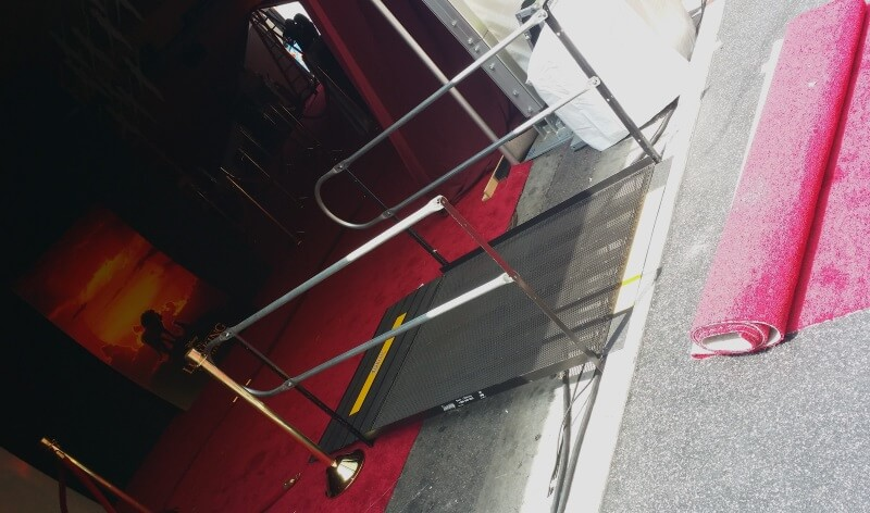 Two rental ramps were installed by Amramp Los Angeles for the Lion King Premiere at the Chinese Theatre on Hollywood Boulevard. The ramps were installed at 8pm and picked up at 1am the next morning.