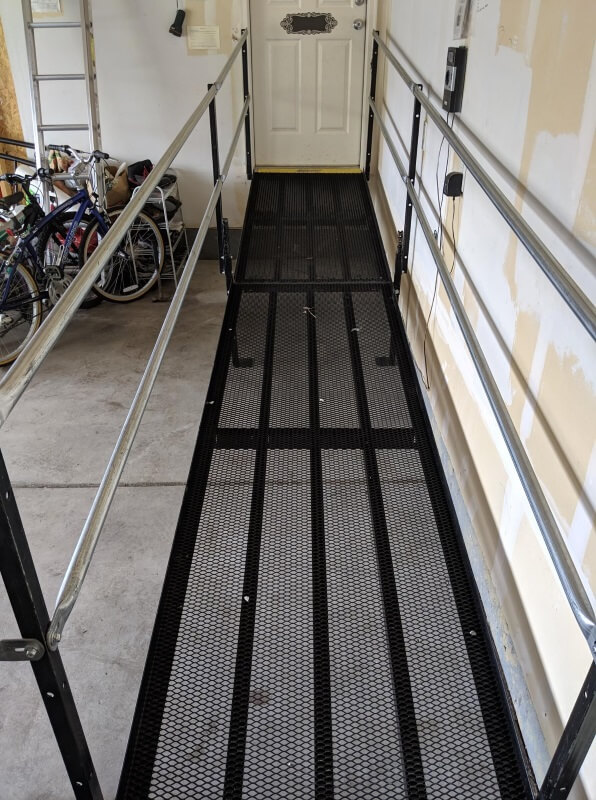 The wheelchair ramp was installed in the garage of this Littleton, CO home by the Amramp Denver team.