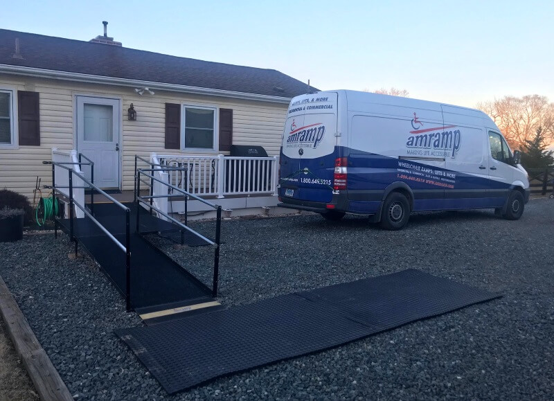 This Prince William County resident in Northern Virginia now has a safe access for a loved one with this wheelchair ramp rental installed by Amramp. If you need a ramp anywhere in Northern Virginia, Northern and Central Maryland to the Eastern shore, or Washington DC, please contact Greg Lazzaroni at Amramp.