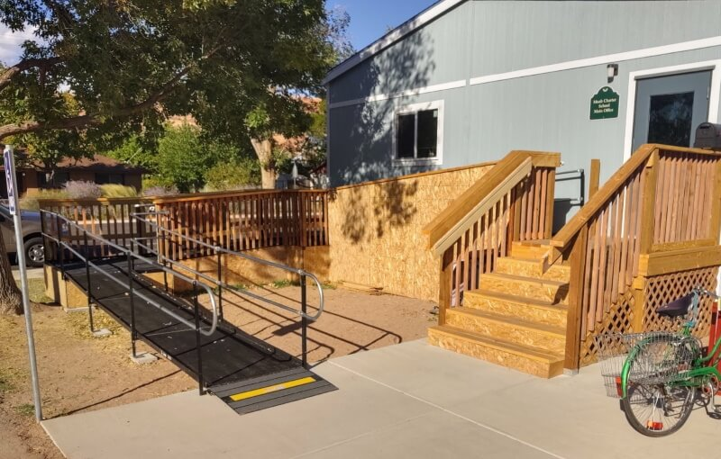 This main office in Moab, UT now has a wheelchair accessible entrance from the Amramp Utah team.
