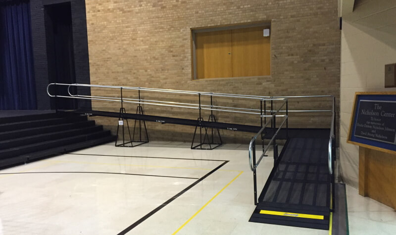 The stage at Mounds Park Academy in Maplewood, MN is now wheelchair accessible thanks to Amramp Minnesota.