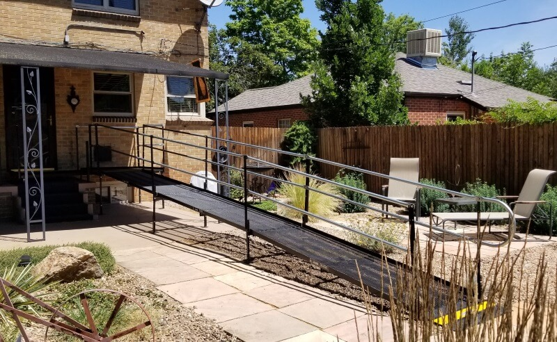 The Amramp Denver team installed this wheelchair ramp at a home in Northeast Denver, CO.