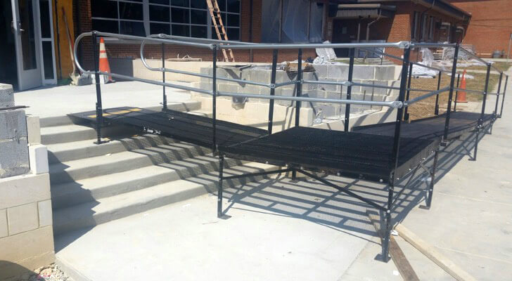 An Amramp ramp installed at Pemberton Elementary School in Henrico County to provide access during construction.