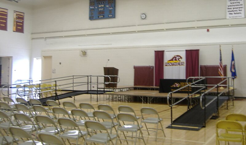 Doug Pumarlo and the Amramp Minnesota team installed these two ramps for Pine Island High School in Pine Island, MN.
