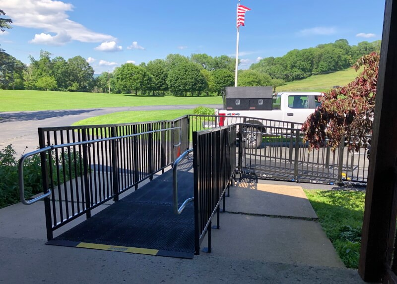 Dave and the Amramp NE PA/Central NJ team installed this Amramp PRO commercial ramp system in Califon, NJ.