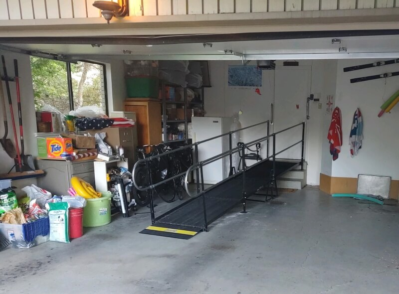 This ramp was installed at a garage in a home in Provo, UT by the Amramp team.